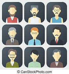 mâle, ensemble, faces, icônes