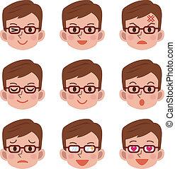 mâle, expression, facial