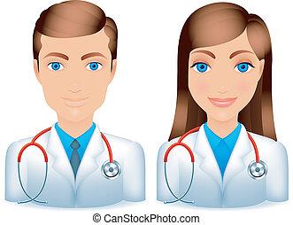 mâle, femme, doctors.
