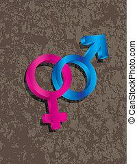 mâle, femme, genre, 3d, symboles, enclencher, illustration
