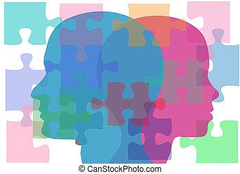mâle, femme, gens, problèmes, couple, puzzle, solution