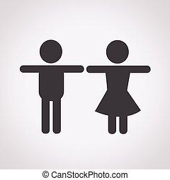 mâle, femme, icône