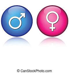 mâle, femme, icônes