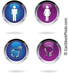 mâle, femme, signes