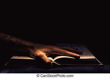 mâle, livre ouvert, main