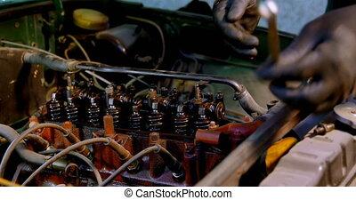 mâle, mécanicien voiture, 4k, entretenir, garage