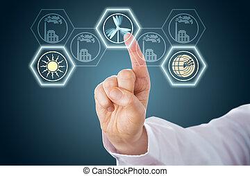 mâle, main, activer, énergies renouvelables, icônes