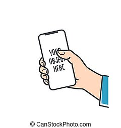 mâle, main, téléphone, intelligent, tenue, prise, smartphone.