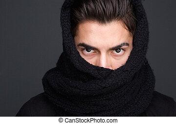 mâle, mannequin, écharpe, couvert, figure