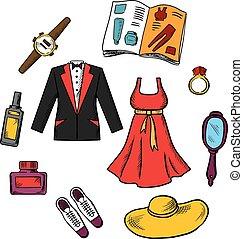 mâle, mode, femme, icônes