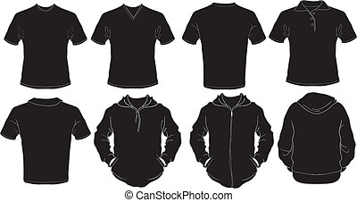 mâle, noir, chemises, gabarit