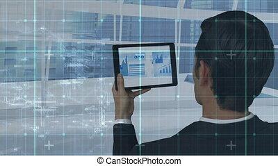 mâle, numérique, utilisation, cadre, tablette