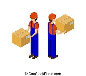 mâle, paquet, ouvrier, ligne production, carton