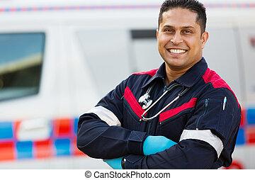 mâle, personnel ambulance