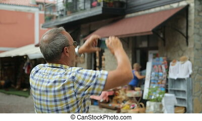 mâle, photo prenant, touriste, rue