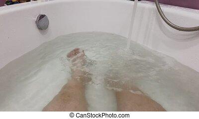 mâle, pieds, sale, bath.