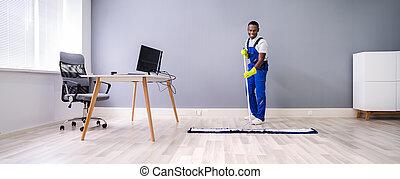 mâle, plancher, bureau, nettoyage, concierge