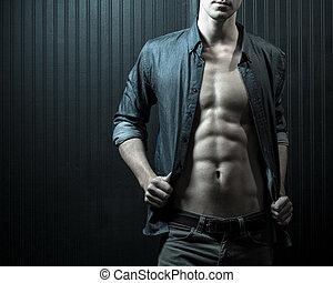 mâle, poitrine, et, mid-section
