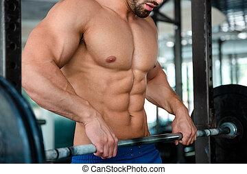 mâle, poitrine, gymnase, barre disques