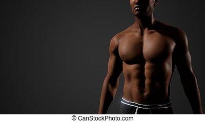 mâle, poitrine nue, américain africain