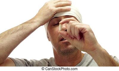 mâle, prend, migraine, médicament