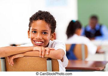 mâle, primaire, classe, étudiant, école