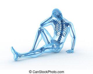 mâle s'asseyant, à, visible, os