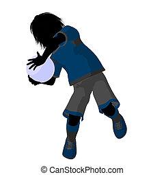 mâle, silhouette, illustration, tween, joueur, football