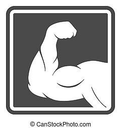 mâle, silhouette, puissance, muscle, bras, icône