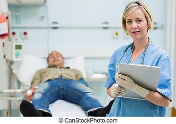 mâle, suivant, malade infirmière