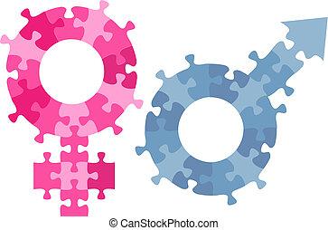 mâle, symbole genre, morceaux denteux, femme, sexe, puzzle
