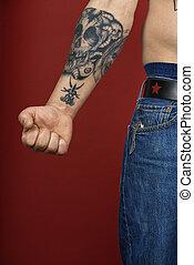 mâle, tattoo., adulte, bras