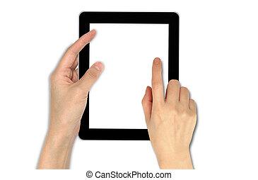 mâle, tenue, touchpad, main