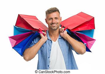 mâle, ton, achats, shopaholic., lourd, homme, acheteur, beau, soin, shopping., après, paquets, bags., avide, purchase., isolé, blanc, dons, heureux, présente., happiness., remerciement, achat