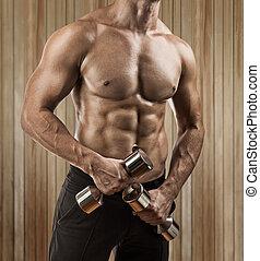 mâle, torse, musculaire