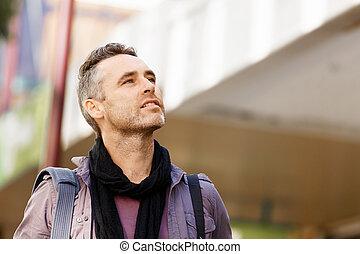 mâle, touriste, ville