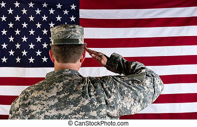 mâle, usa, saluer, solider, vétéran, drapeau