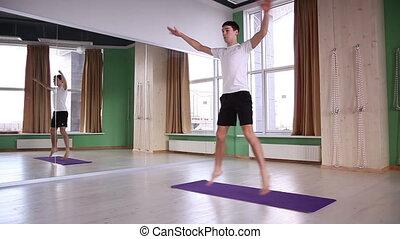 mâle, yoga, jeune