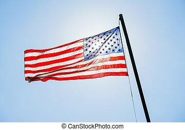 mât, drapeau américain