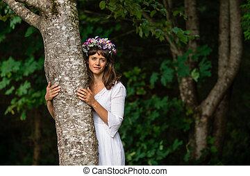mãe, árvore abraça, natureza