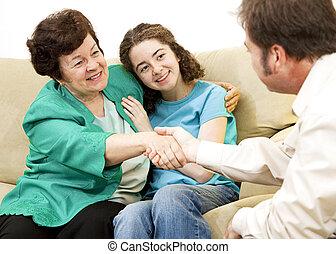 mãe, adolescente, conselheiro