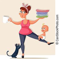 mãe, afazeres, ocupado, sentimento, oprimido, lar