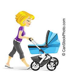 mãe, andar, com, um, azul, carrinho criança