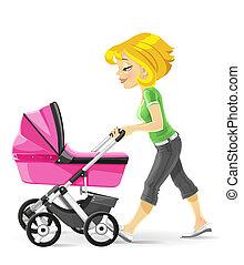 mãe, andar, com, um, cor-de-rosa, carrinho criança