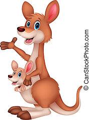 mãe bebê, canguru, caricatura