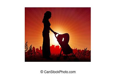 mãe bebê, carruagem, ligado, pôr do sol, fundo