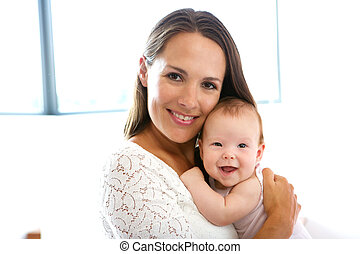 mãe, bebê, cute, sorrindo, bonito