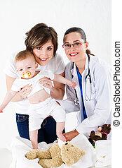mãe, bebê, e, pediatra