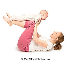 mãe bebê, ginástica, ioga, exercícios, isolado