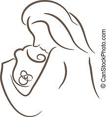 mãe, bebê, linear, ilustrações, silueta